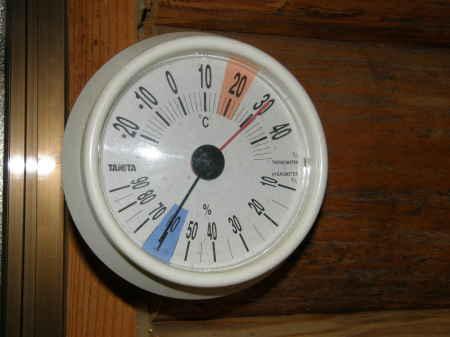 ログ内の気温と湿度