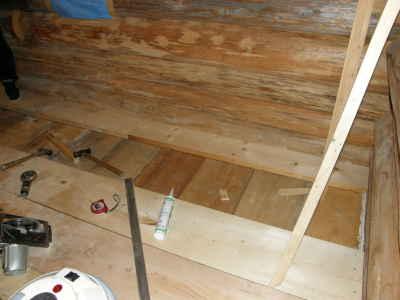 床板張りログ南側