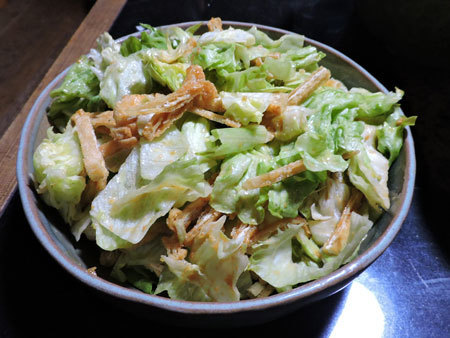 レタスと揚げの酢味噌サラダ2